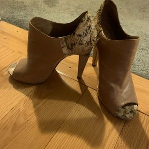 Vince Camuto peep toe bootie with snakeskin back